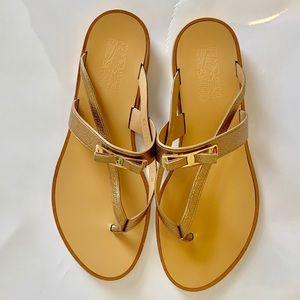 Salvatore Ferragamo gold/bronze sandals, 8.5!